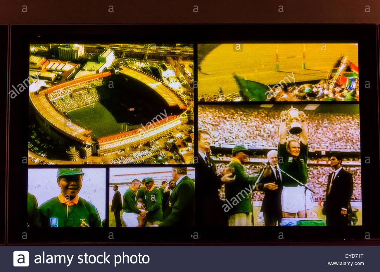 Video images of the famous 1995 Rugby World Cup game won by South Africa with President Nelson Mandela attending. - Stock Image