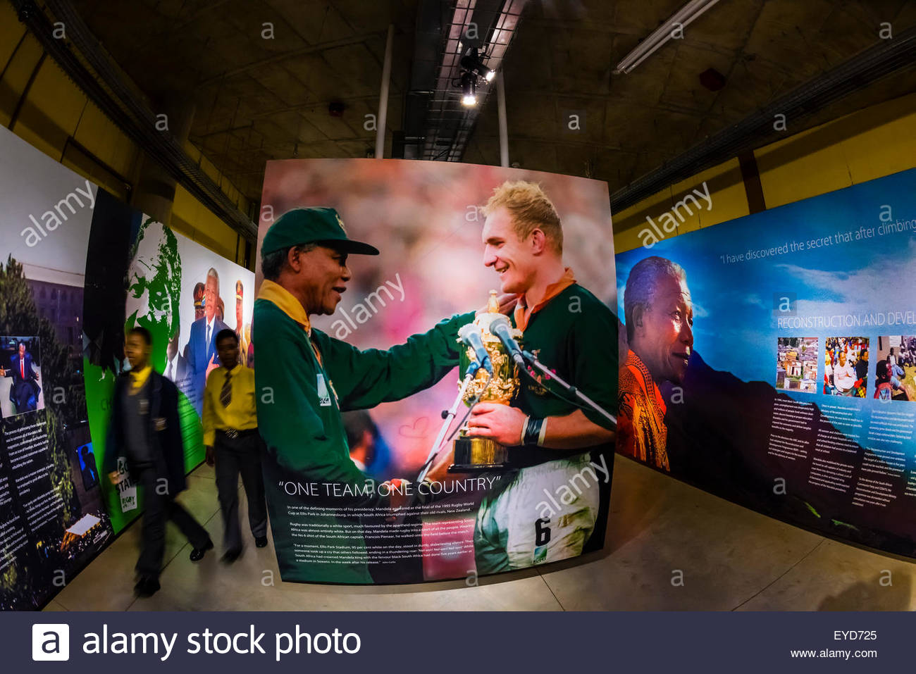 1995 Rugby World Cup game won by South Africa with President Nelson Mandela attending. This was the first Rugby - Stock Image
