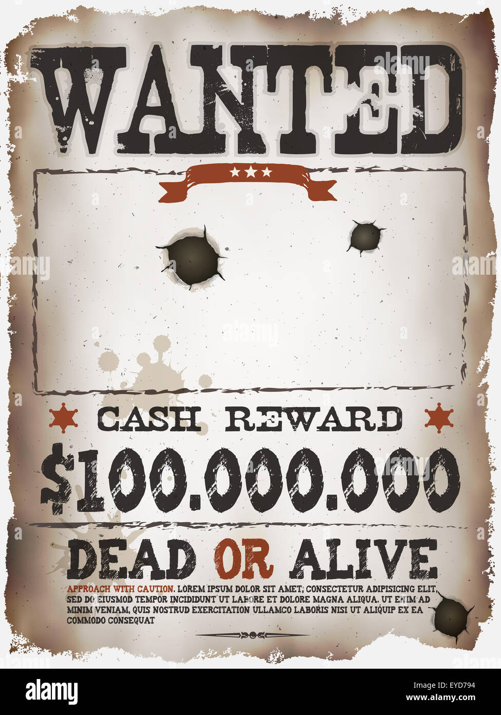 Illustration of a vintage old wanted placard poster template with