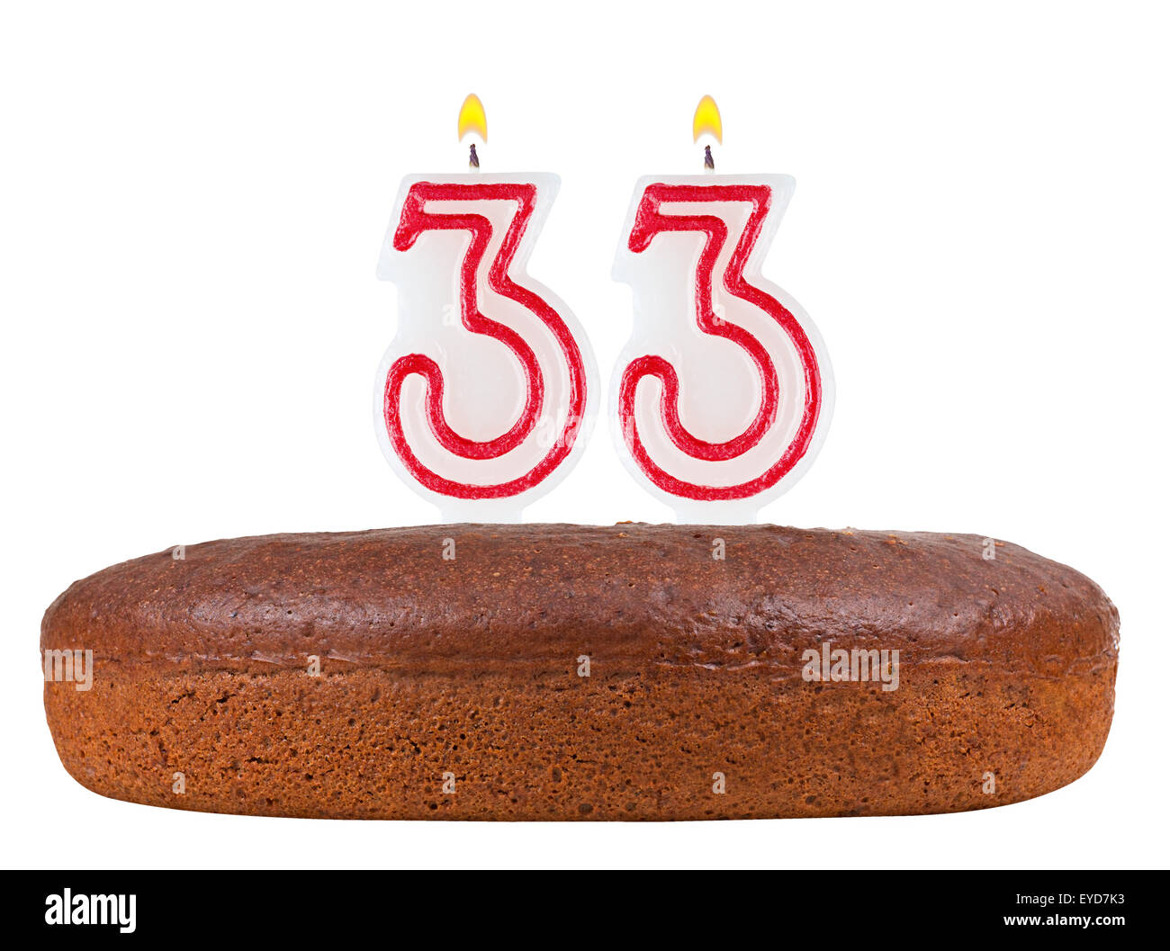 Birthday Cake With Candles Number 33 Isolated On White Background