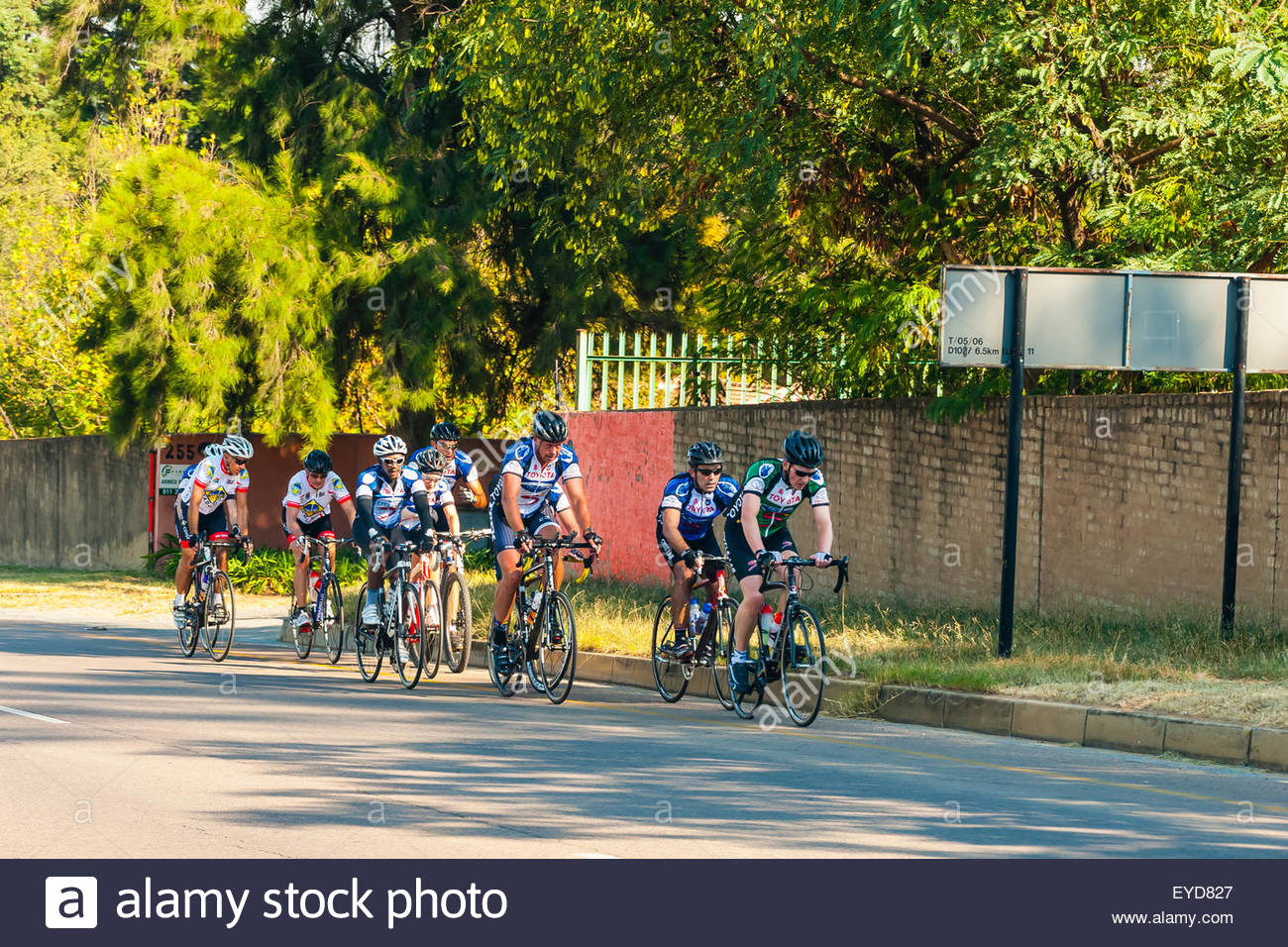Bicyclists, Johannesburg, South Africa. - Stock Image