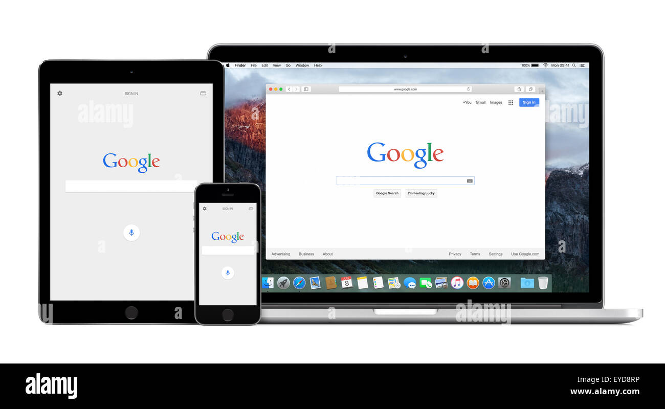 Varna, Bulgaria - February 02, 2015: Google app on Apple iPhone and iPad displays and Google search on Apple Macbook - Stock Image