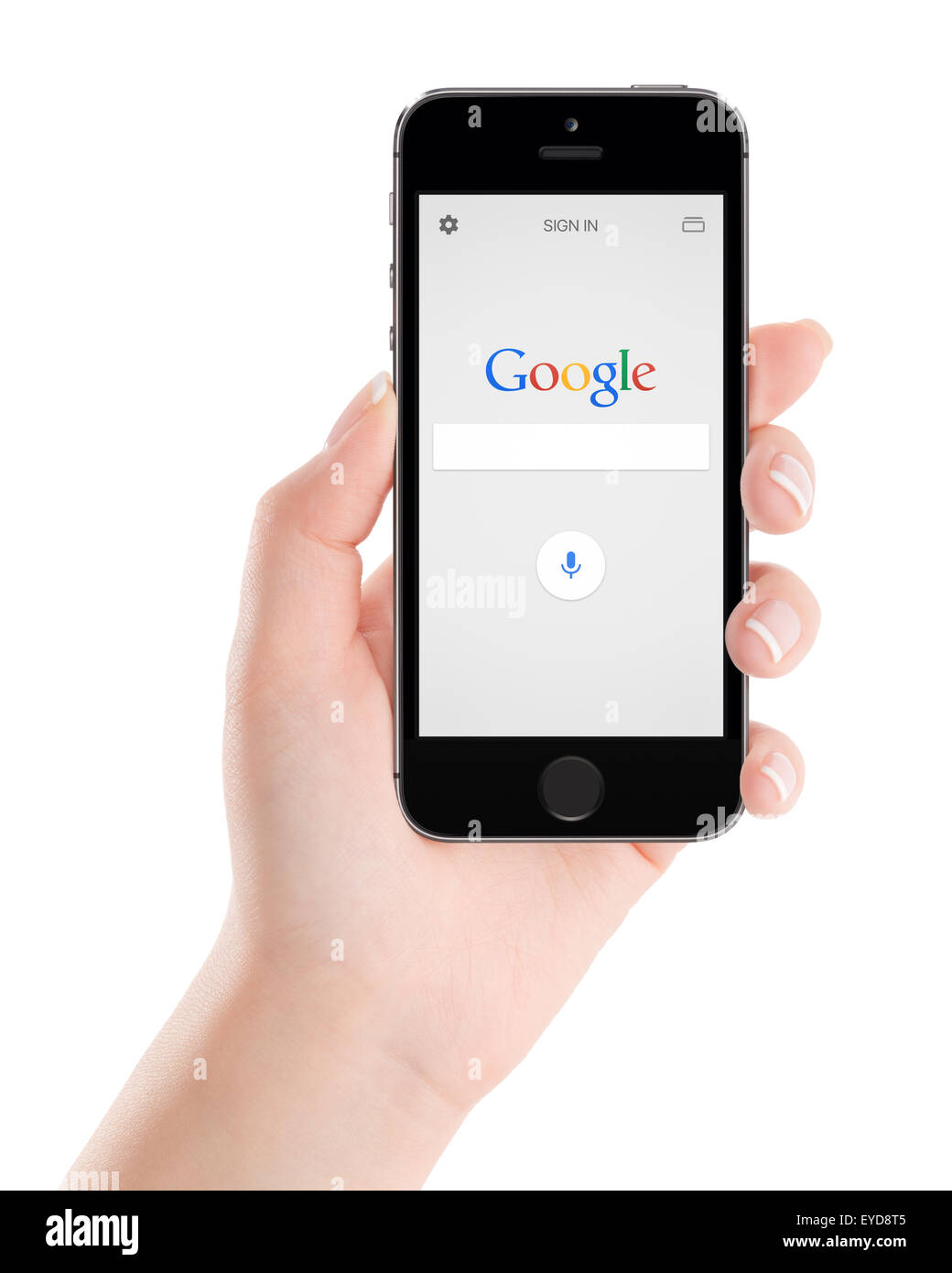 Varna, Bulgaria - February 02, 2015: Google search application on the black Apple iPhone 5s display in female hand. - Stock Image