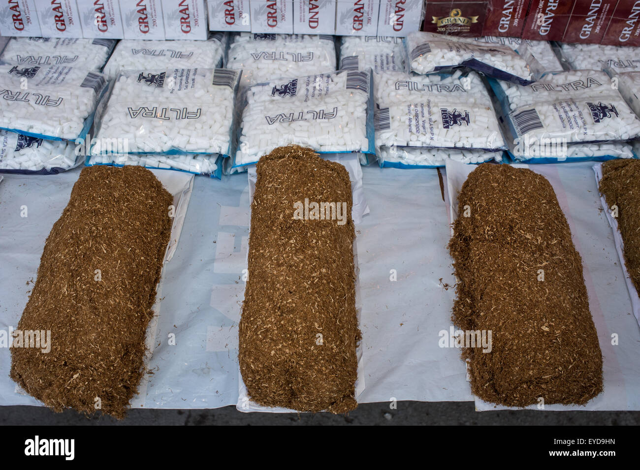 Loaves of raw tobacco, Gran Bazar, Tirana Albania Stock Photo