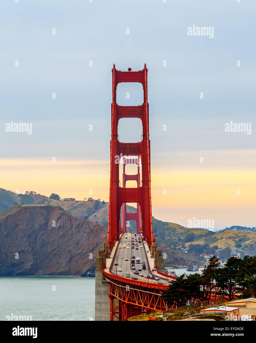 San Francisco Golden Gate Bridge at sunset - Stock Image
