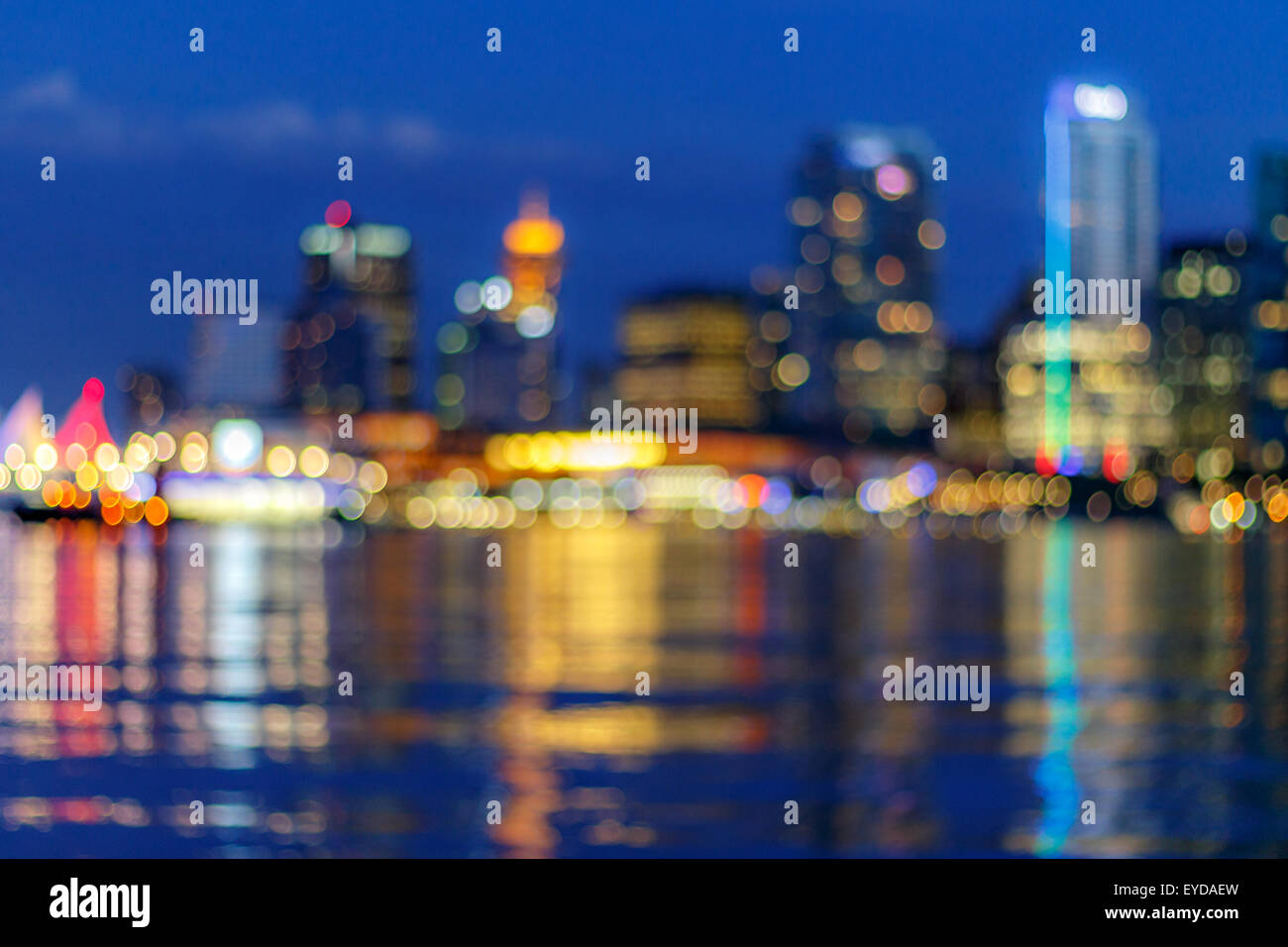 Abtract blur of Vancouver skyline, British Columbia, Canada - Stock Image