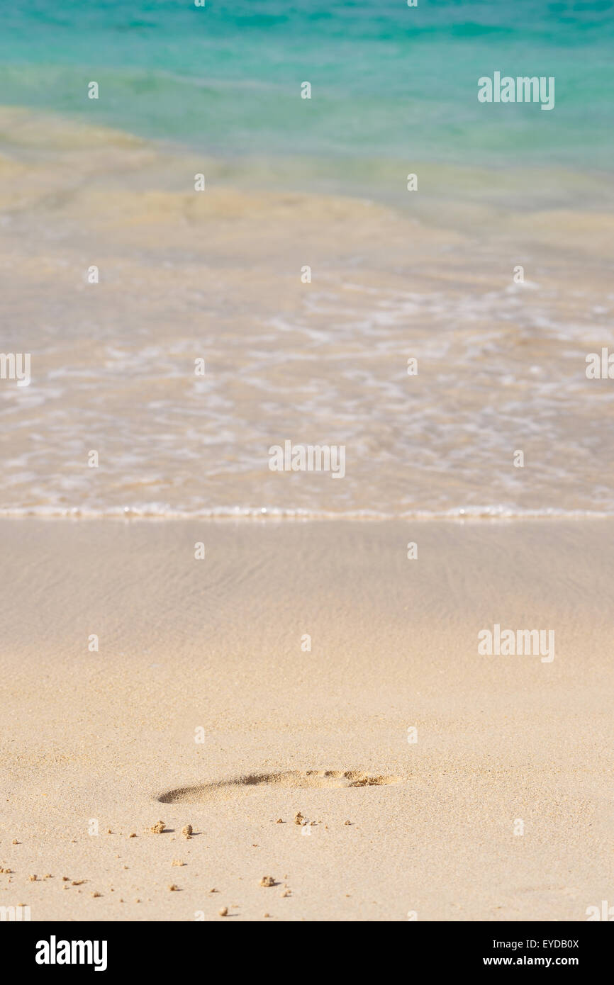 Footprint in the sand at the beach with turquoise blue waters - Stock Image
