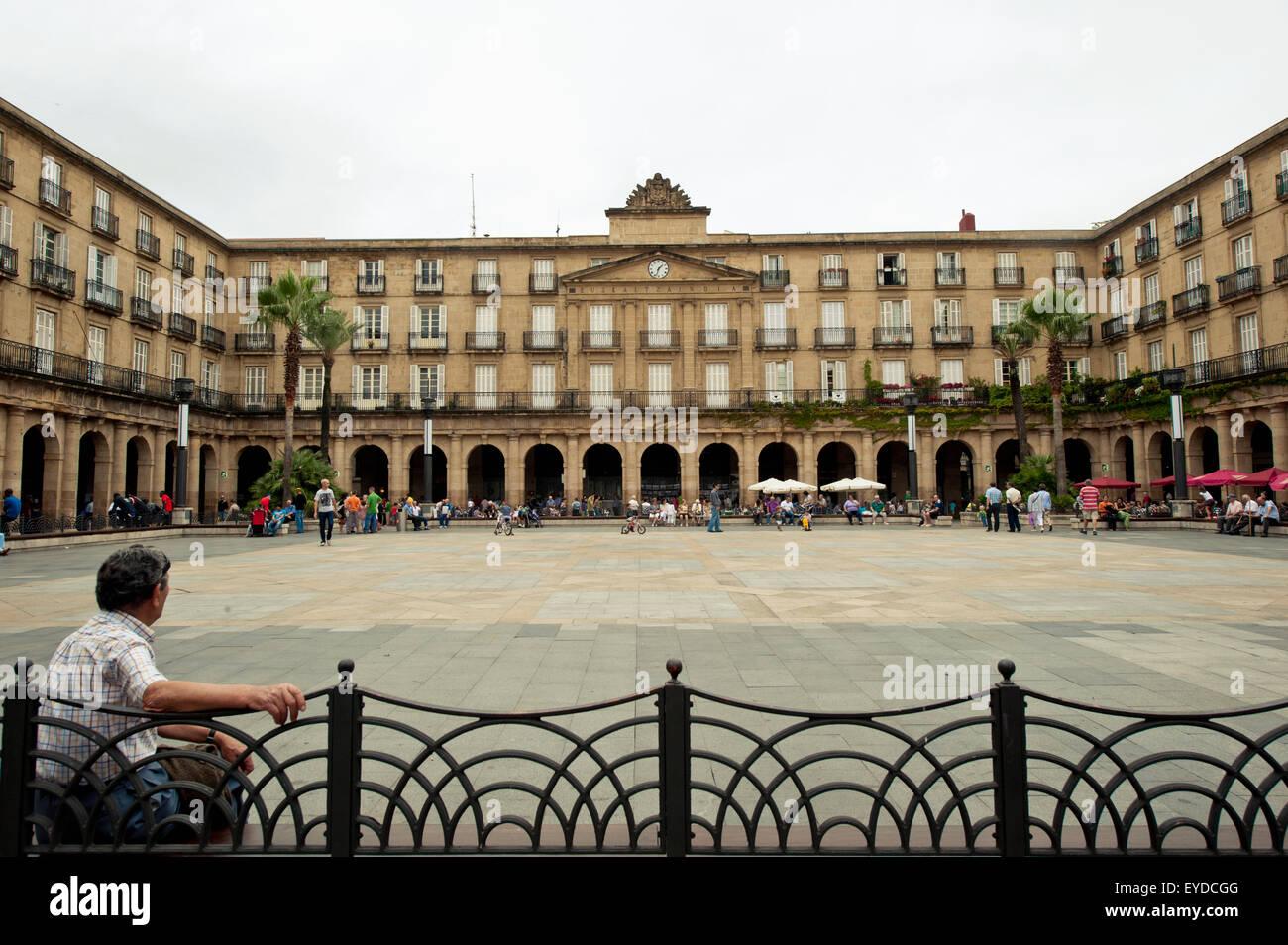 Real Academia De La Lengua Vasca In Plaza Nueva, Bilbao, Basque Country, Spain - Stock Image