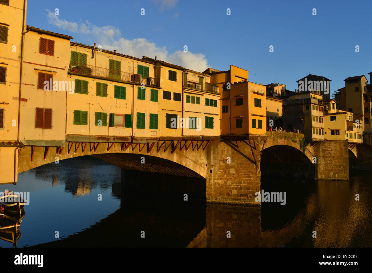 the famous Ponte Vecchio in evening light - Stock Image