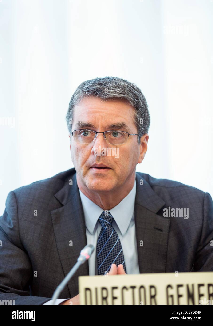 Geneva, Switzerland. 27th July, 2015. World Trade Organization (WTO) Director General Roberto Azevedo addresses Stock Photo