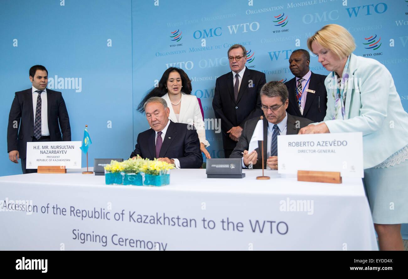 Geneva, Switzerland. 27th July, 2015. World Trade Organization (WTO) Director General Roberto Azevedo (2nd R, Front) Stock Photo
