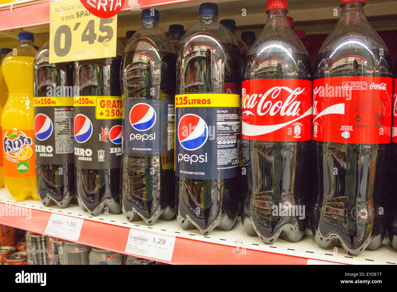 Bottles Of Coca Cola And Pepsi On Sale In La Palma Spain