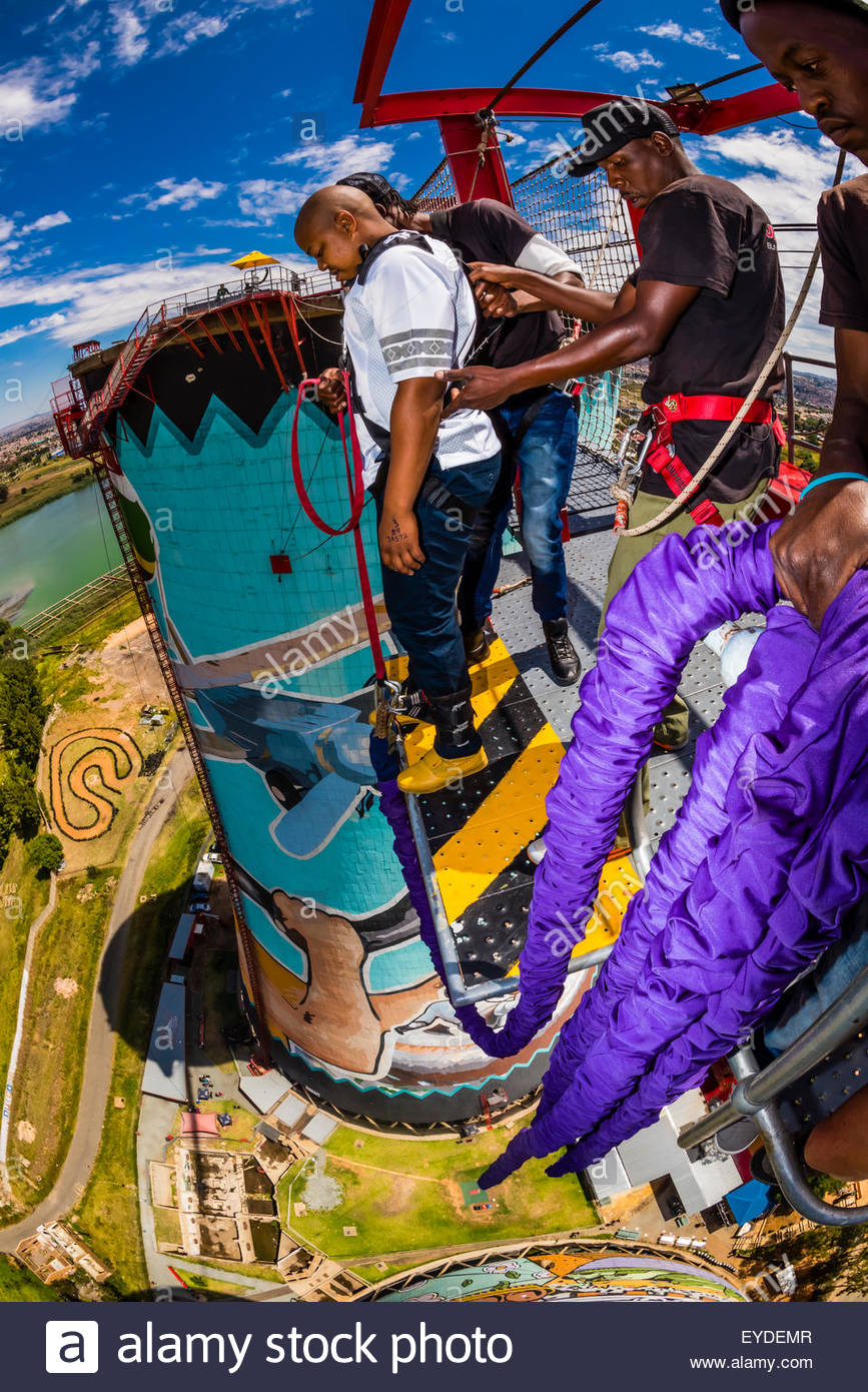 100 meter 328 foot bungee jump at orlando towers at the stock