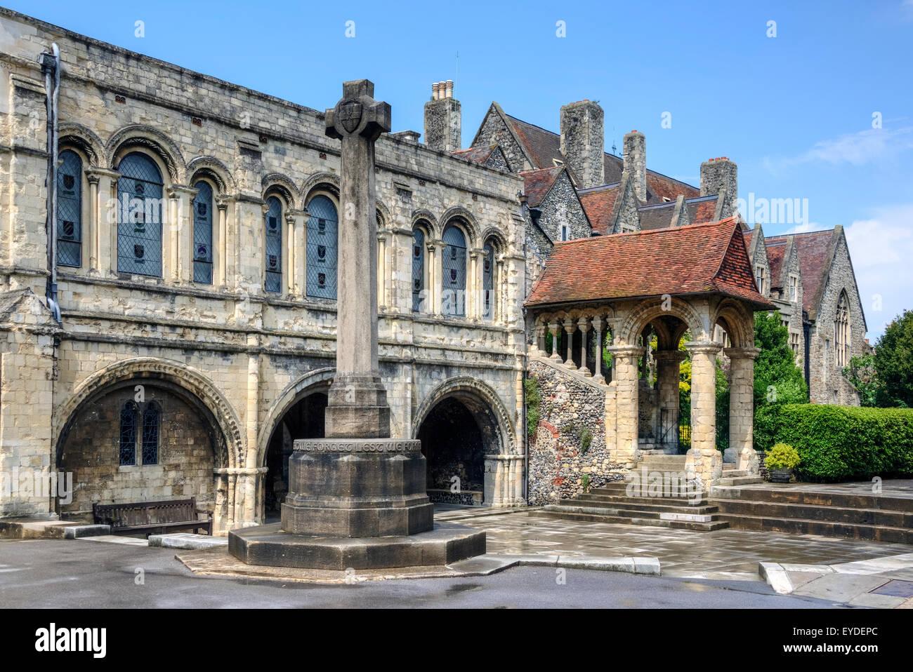 Norman staircase, King's School, Canterbury, Kent, England, United Kingdom - Stock Image