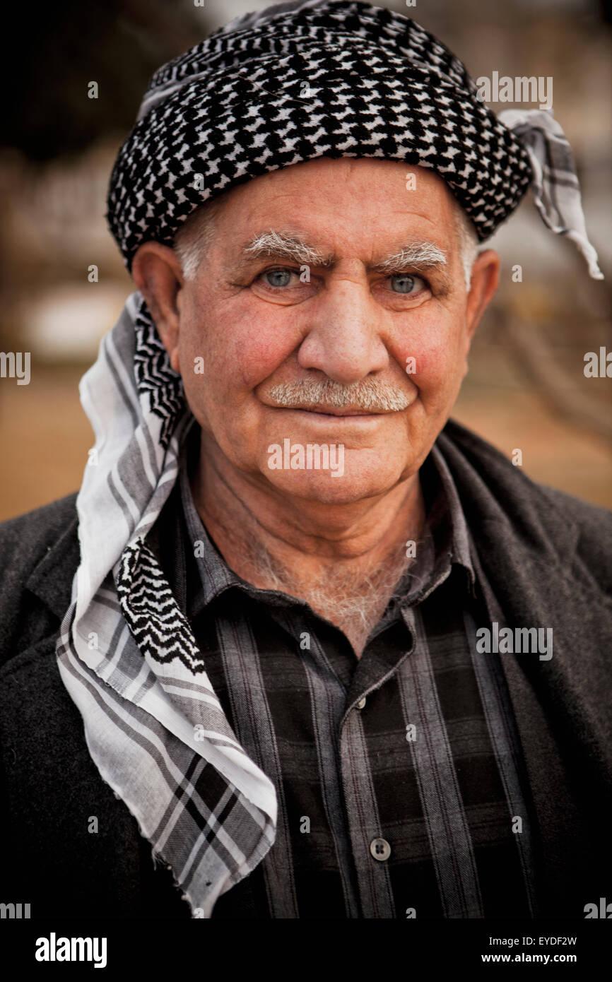 Portrait Of Kurdish Man, Sulaymaniyah, Iraqi Kurdistan, Iraq - Stock Image