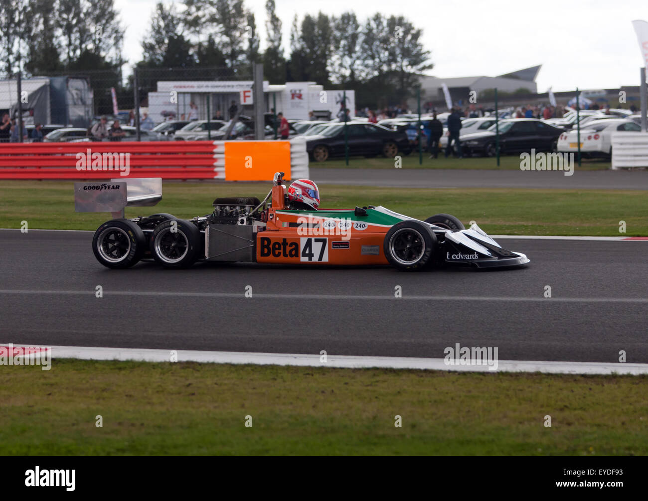 Jeremy Smith driving a 1976, six-wheeled March 2-4-0, in the FIA Masters Historic Formula One race at the Silverstone - Stock Image
