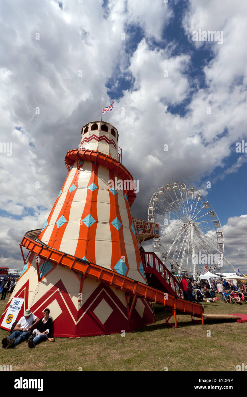 A helter-skelter, in the 'Village Green', a family entertainment  area, containing a free Fun Fair at the - Stock Image