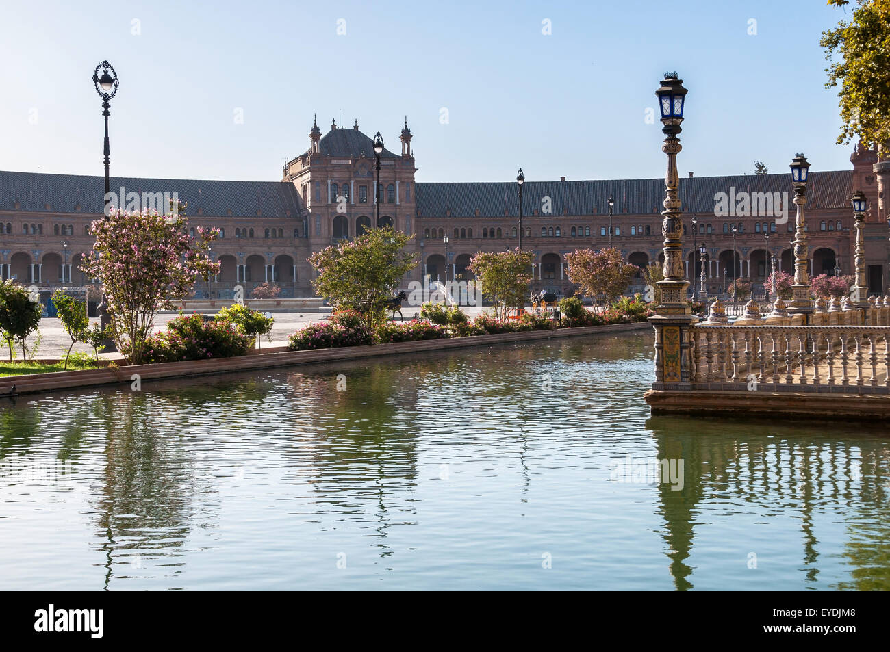 Morning view of the Plaza de Espana in Seville. It is a landmark example of the Renaissance Revival style in Spanish - Stock Image