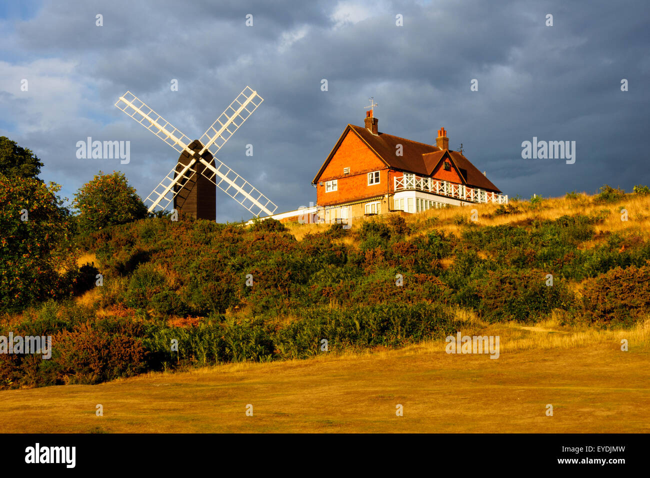 Reigate Heath Golf Course Clubhouse and Windmill, Surrey England United Kingdom - Stock Image