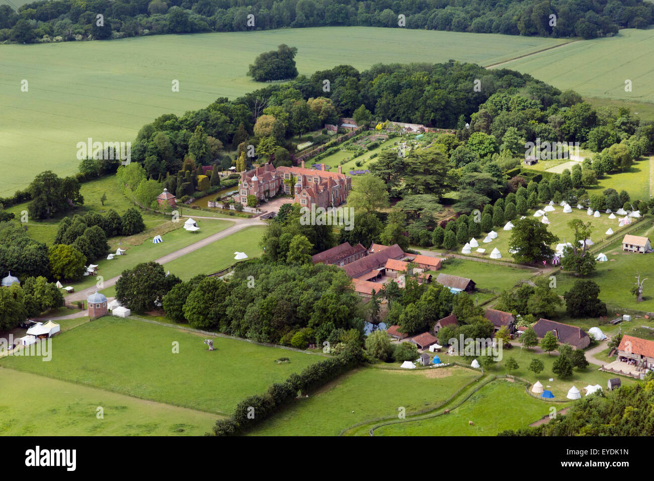 aerial photo of Kentwell Hall, Suffolk, UK - Stock Image
