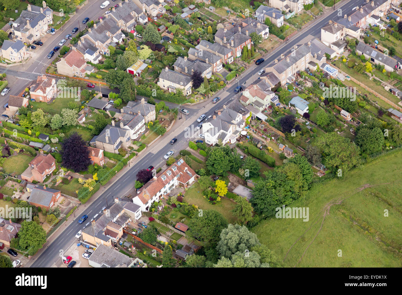 aerial photo of street in uk - Stock Image
