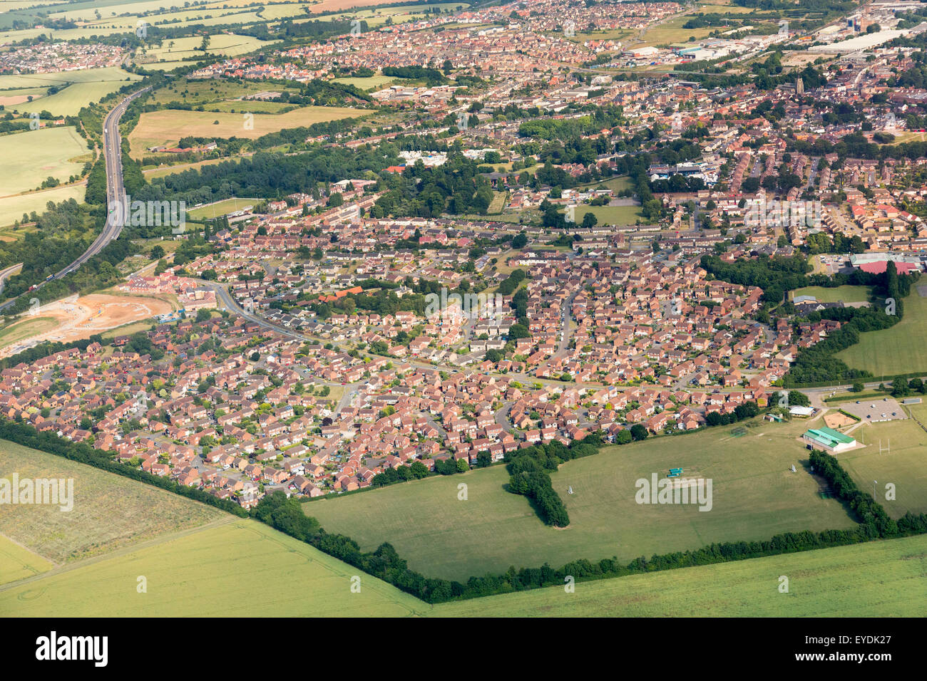 aerial view of the Chilton housing estate in Stowmarket, Suffolk, UK - Stock Image