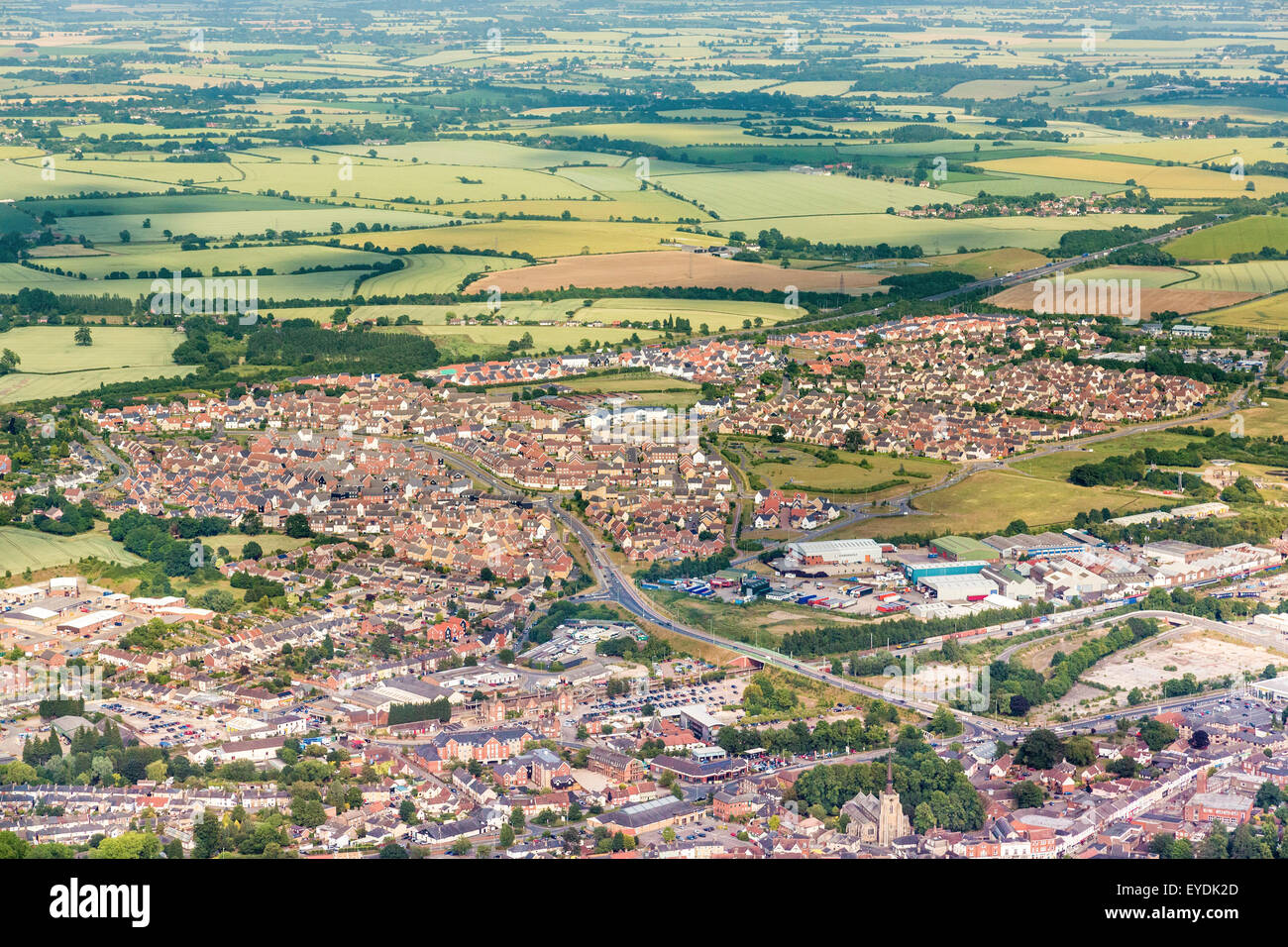 aerial view of the Cedars Park housing estate in Stowmarket, Suffolk, UK - Stock Image
