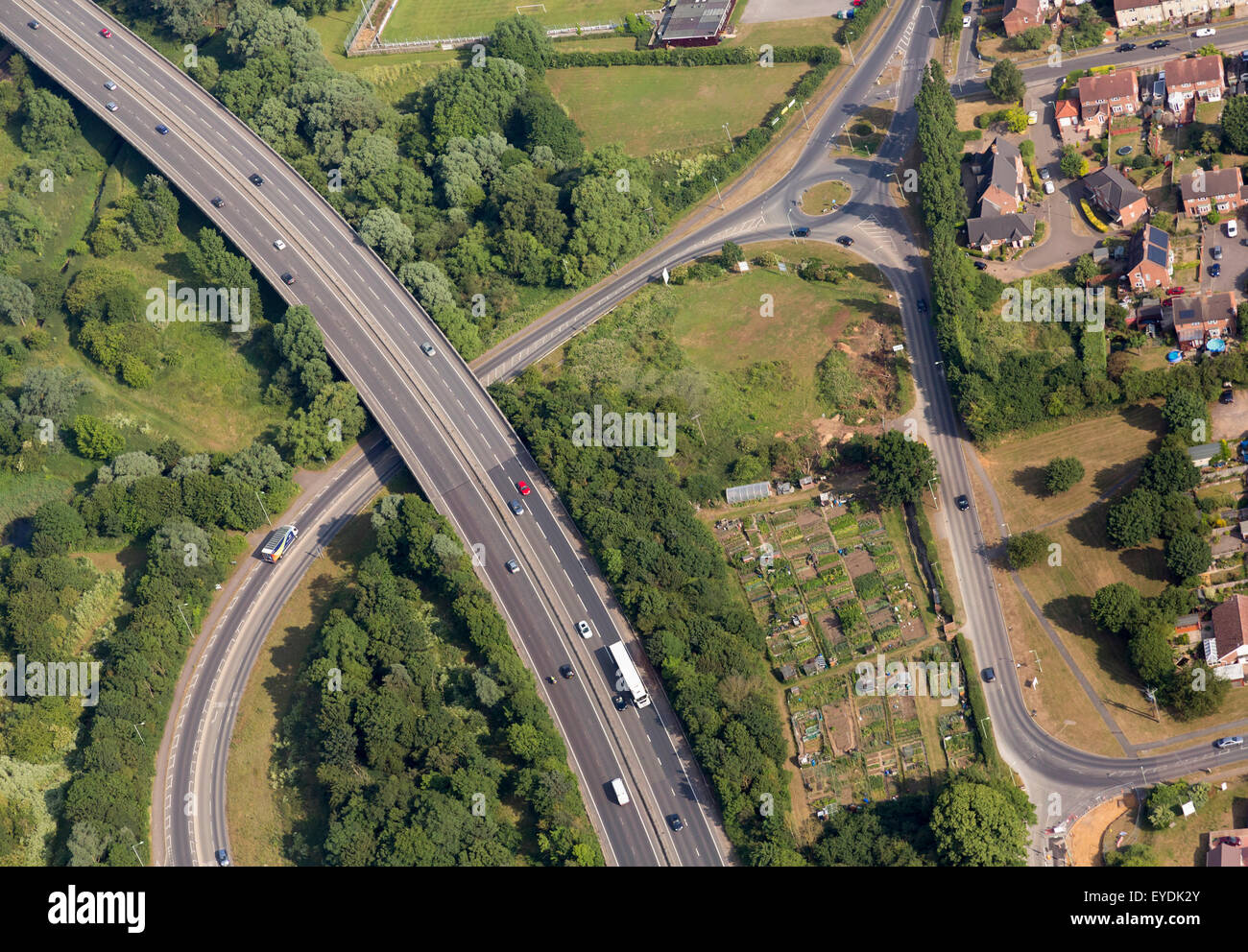aerial photo of dual carriageway / underpass road in the UK - Stock Image