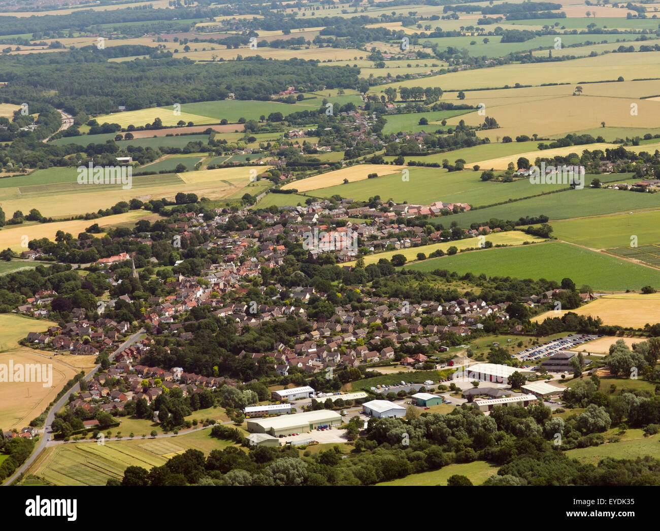 aerial view of Woolpit in Suffolk, UK - Stock Image