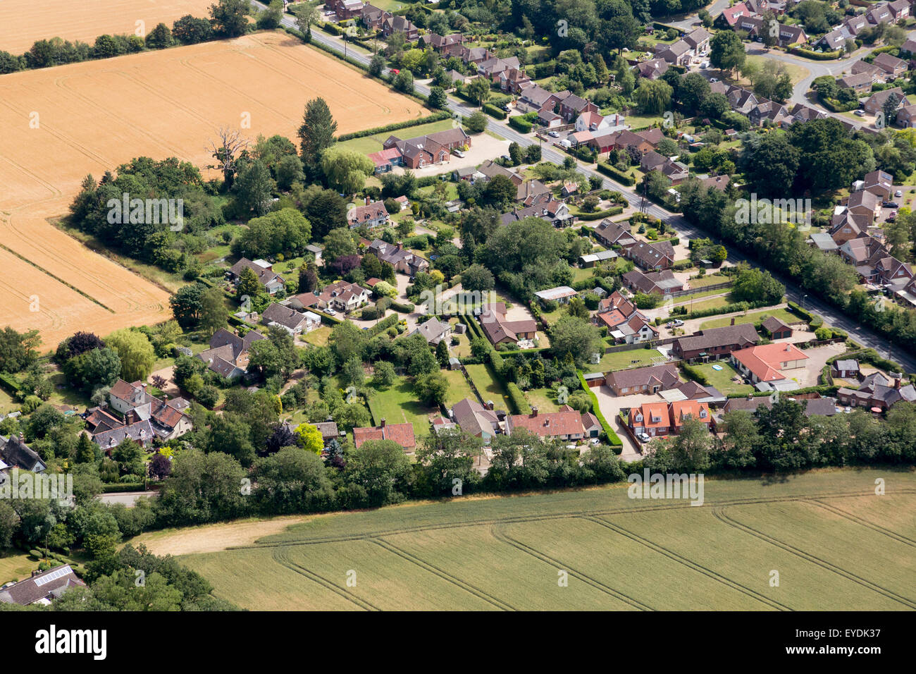 aerial photo of Great Barton, Suffolk, UK - Stock Image