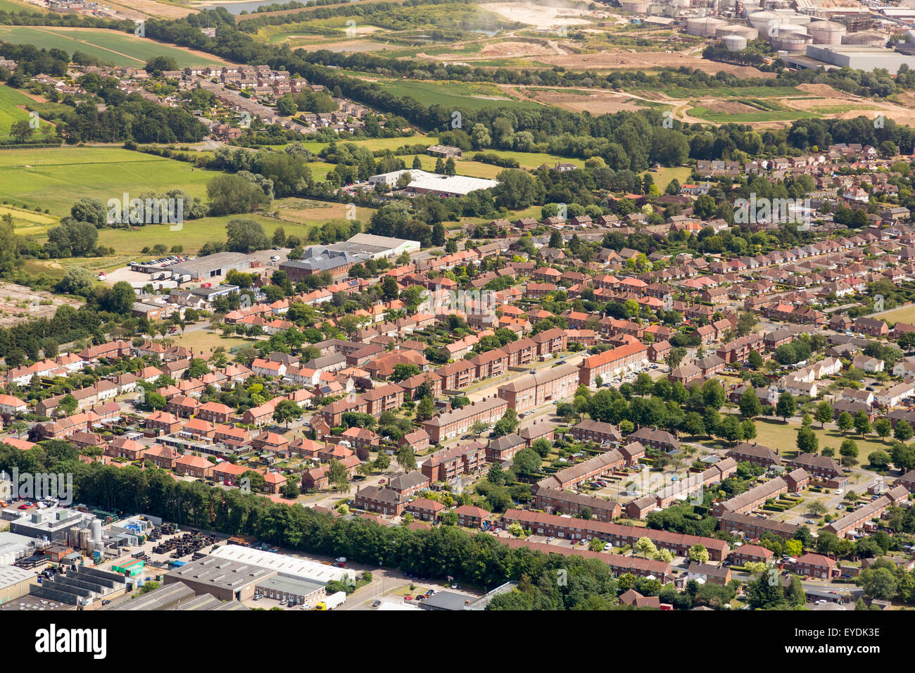 aerial view of Mildenhall housing estate in Bury St Edmunds, Suffolk, UK, built in the late 1940's - 1950's - Stock Image