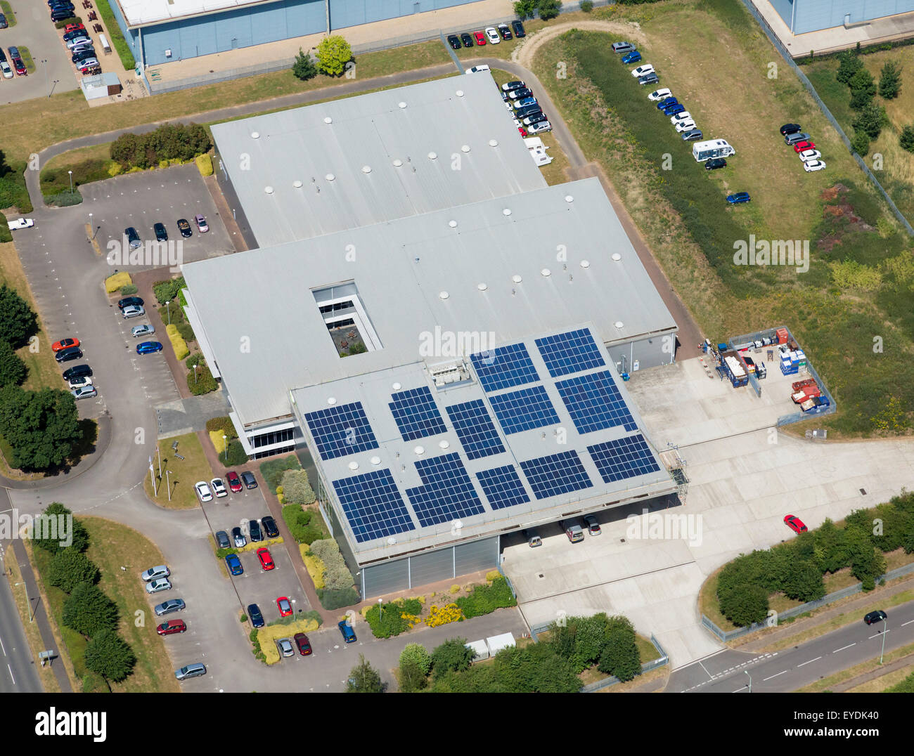 solar photovoltaic panels on a roof in the UK - Stock Image