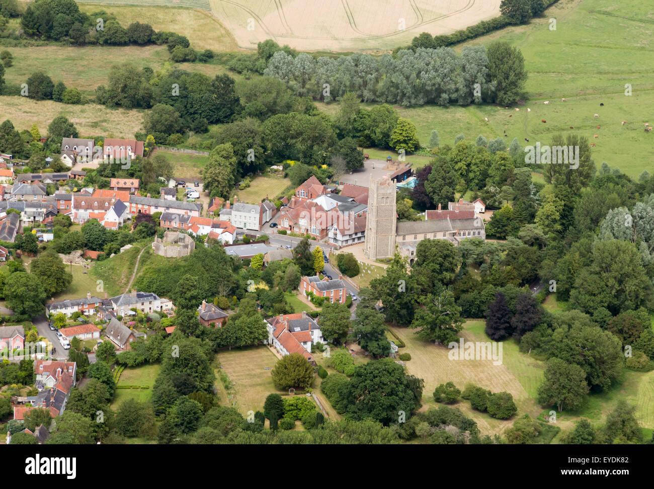 aerial photo of Eye in Suffolk, UK - Stock Image