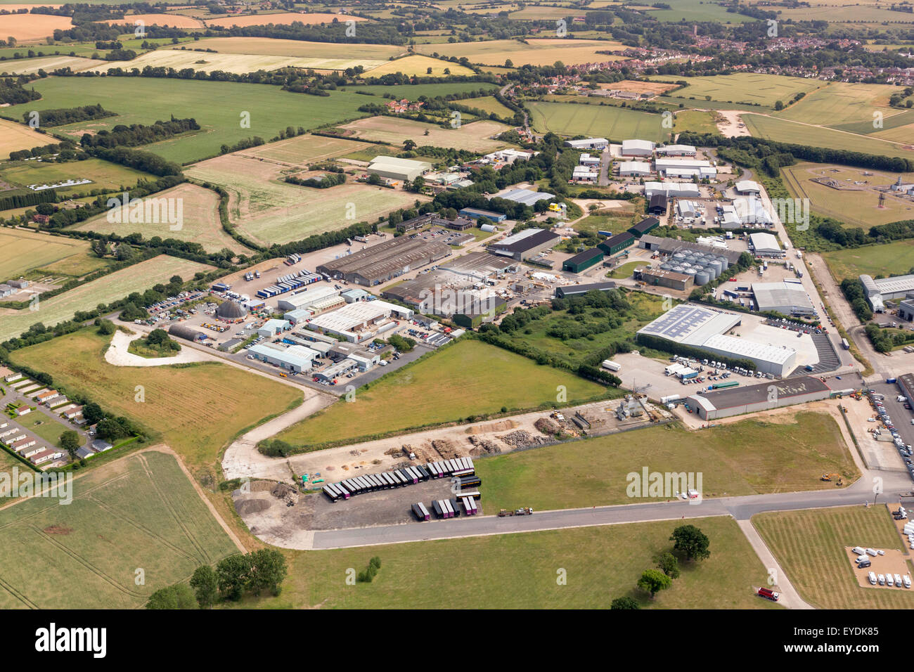 aerial view of Eye airfield industrial estate in Suffolk, UK - Stock Image