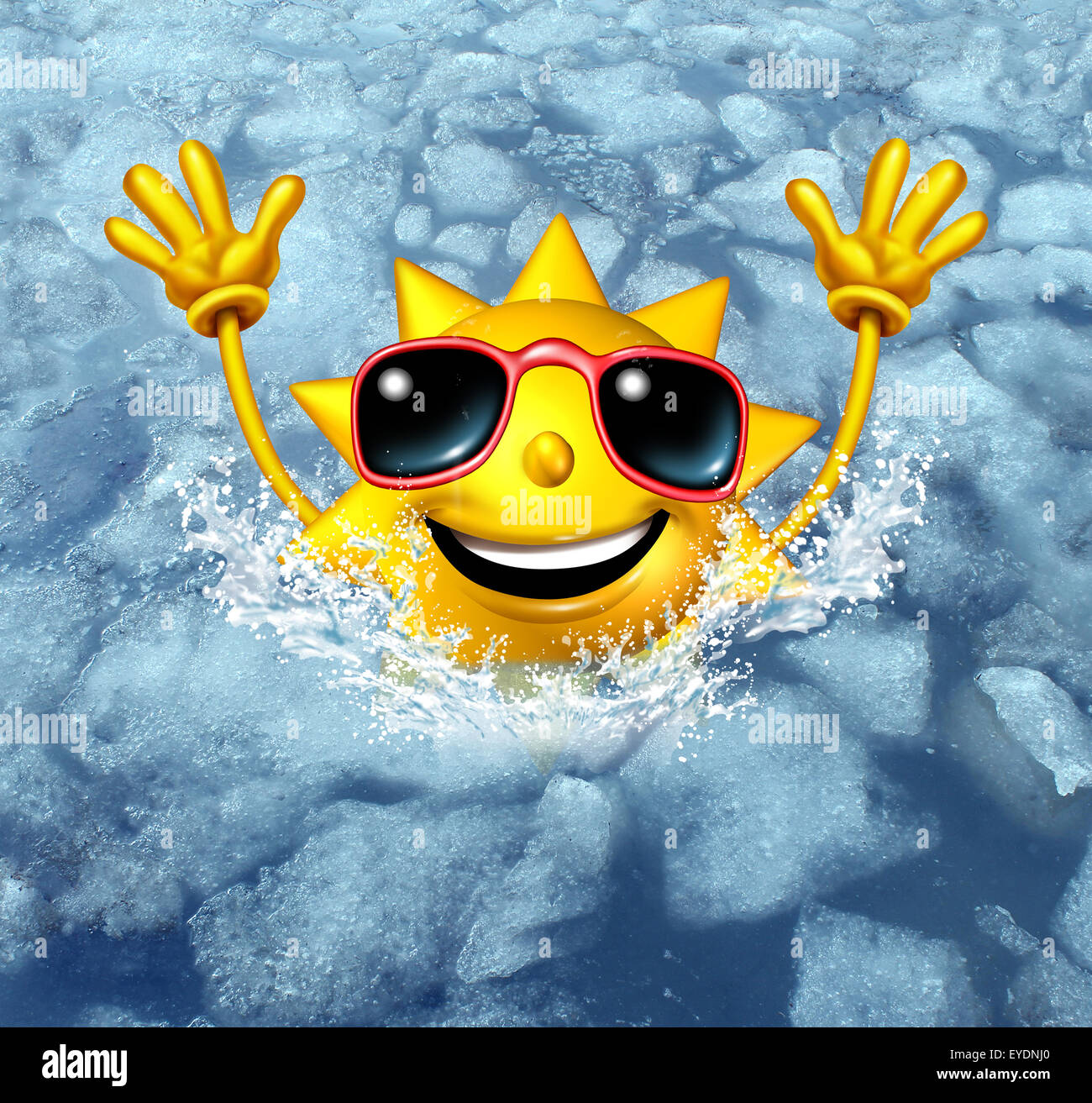 Coooling off fun and cool down concept as a happy hot sun character diving into frozen ice water as a symbol for - Stock Image