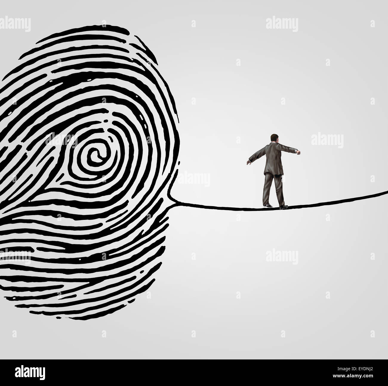 Customer information security risk concept as a person walking on a finger print shaped as a high wire line as an - Stock Image