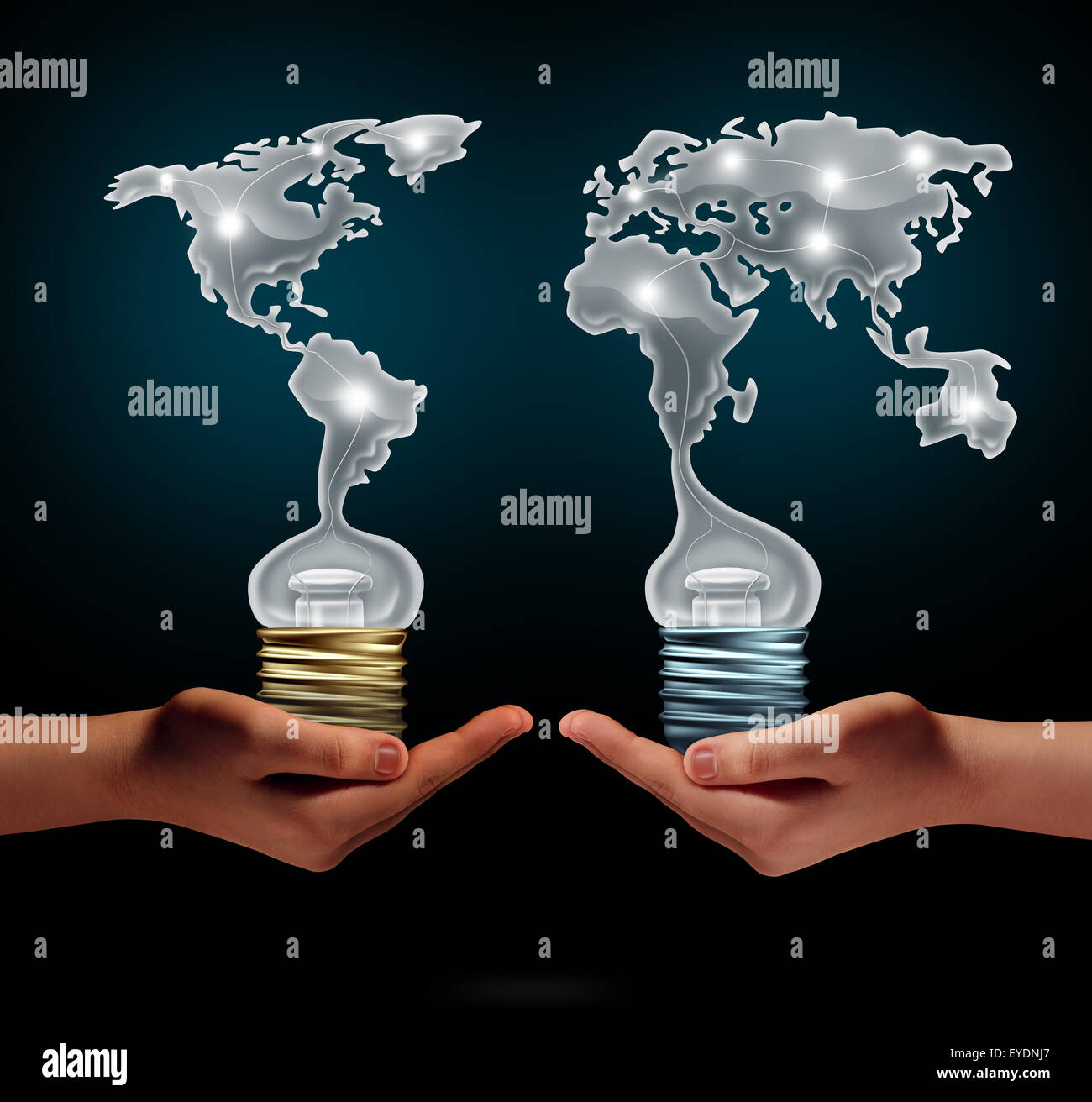 Global creativity business success concept as people holding ligh t bulbs shaped as world continents as a financial - Stock Image