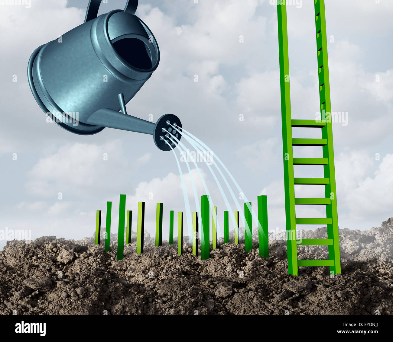 Success development growth concept as a watering can feeding water to growing green step pegs destined to complete - Stock Image