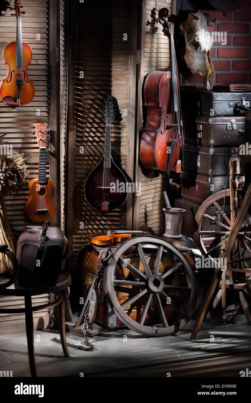 instrument violin music string still life style retro rural
