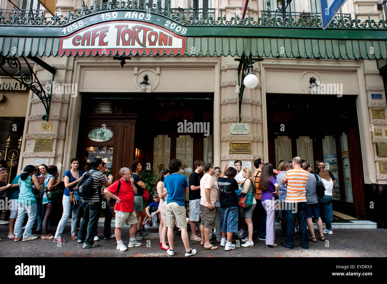 Tourists Queuing Outside Cafe Tortoni, The Oldest Cafe In Argentina, San Nicolas, Buenos Aires, Argentina - Stock Image