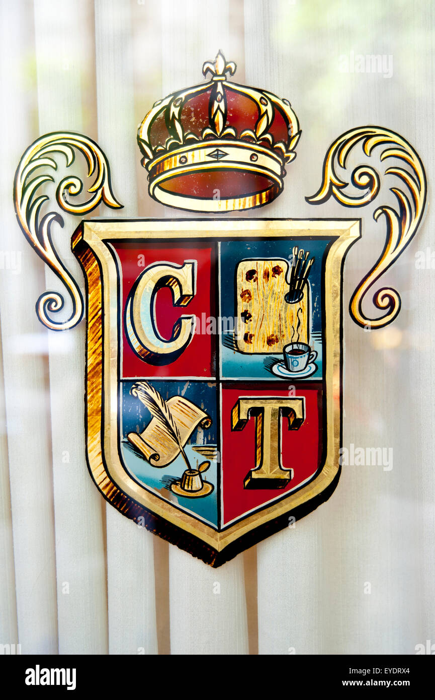 Cafe Tortoni's Window Sign, The Oldest Cafe In Argentina, San Nicolas, Buenos Aires, Argentina - Stock Image