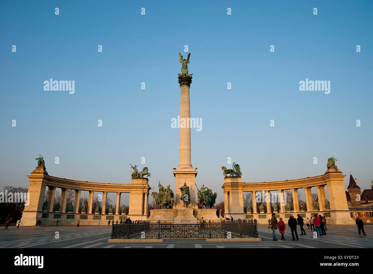 Heroes Square And Millennium Memorial, Budapest, Hungary Stock Photo
