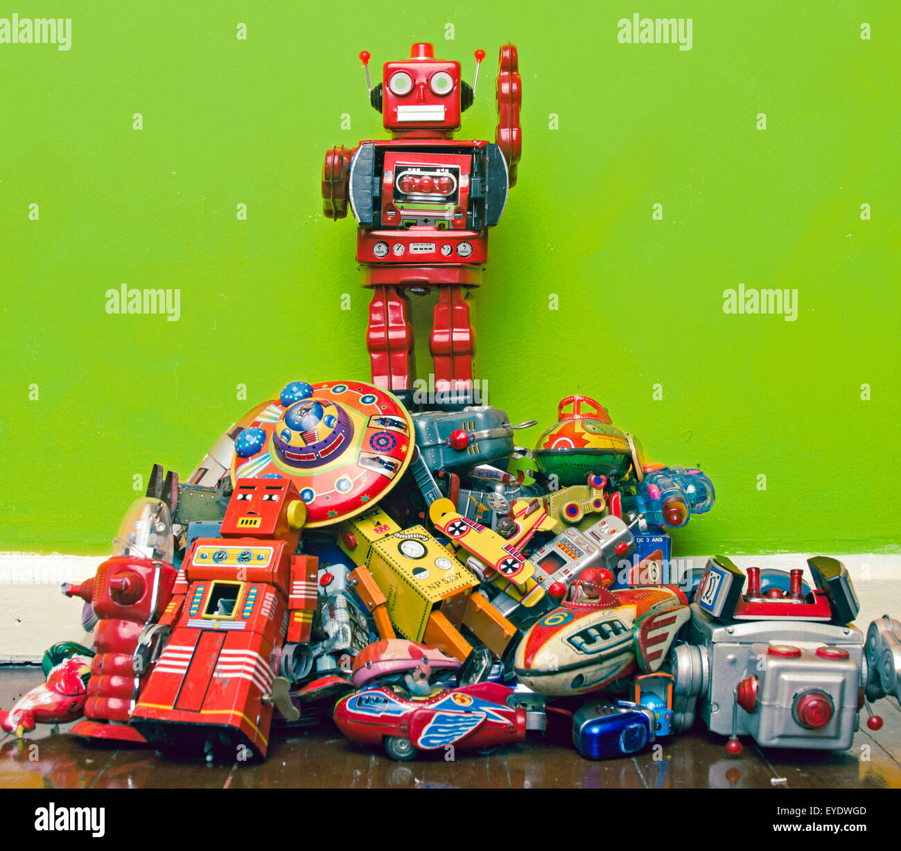 robot toy stands on the oppressed - Stock Image
