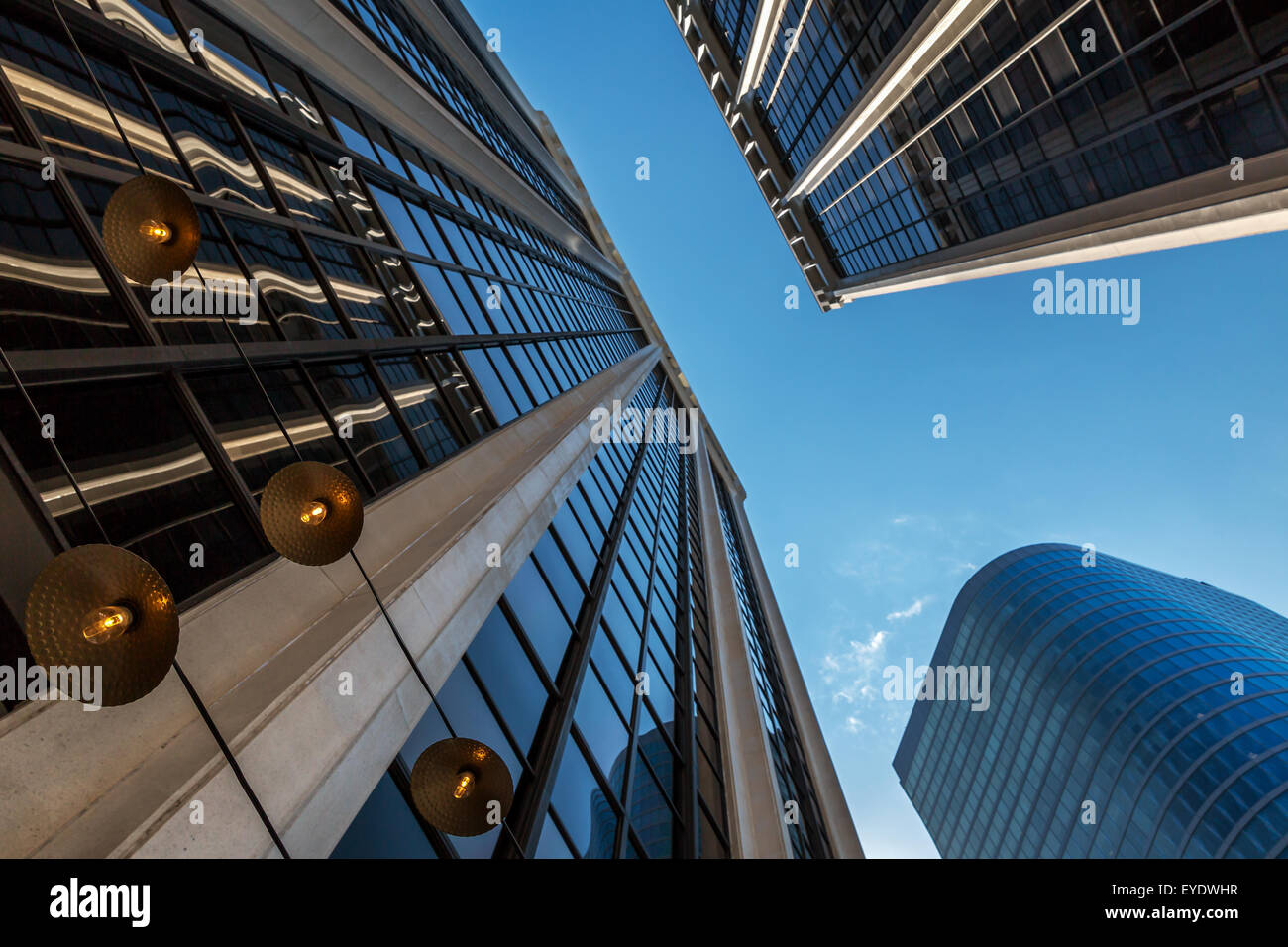 Looking up on modern building facades in Vancouver, British Columbia, Canada - Stock Image