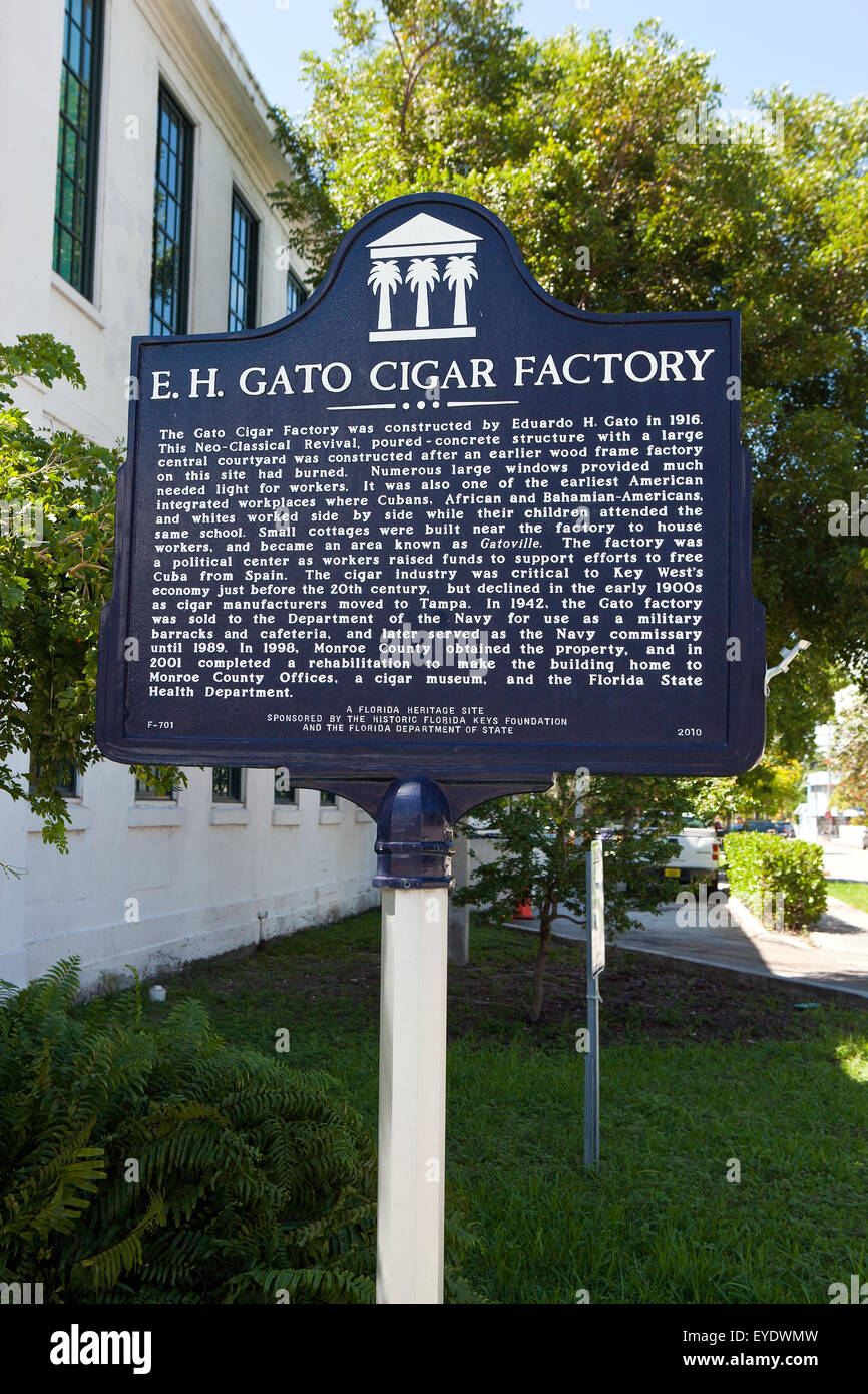 E.H. GATO CIGAR FACTORY  The Gato Cigar Factory was constructed by Eduardo H. Gato in 1916. This Neo-Classical Revival, - Stock Image