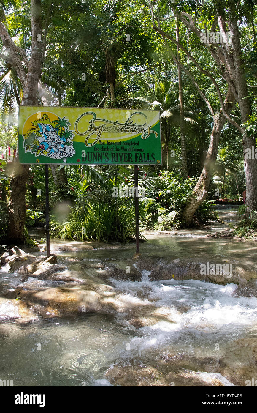 Sign at the top of Dunn's River Falls, Ocho Rios, St. Ann, Jamaica - Stock Image