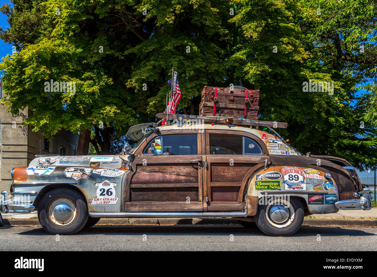 Old Chrysler Town & Country from the fifties, Vancouver, British Columbia, Canada - Stock Image