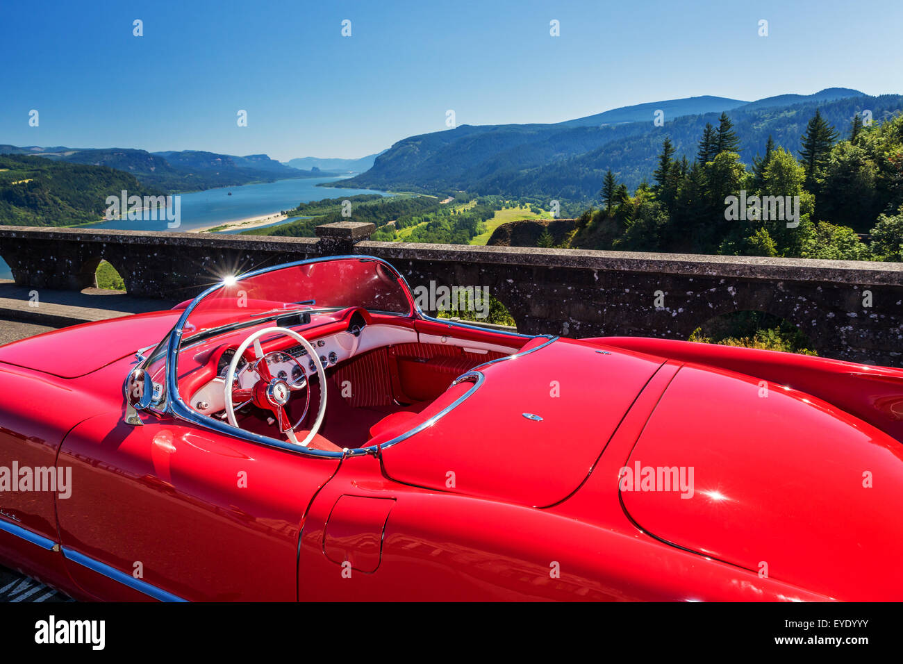 Red Cadillac at Crown Point viewpoint, Columbia Gorge, Oregon, USA - Stock Image
