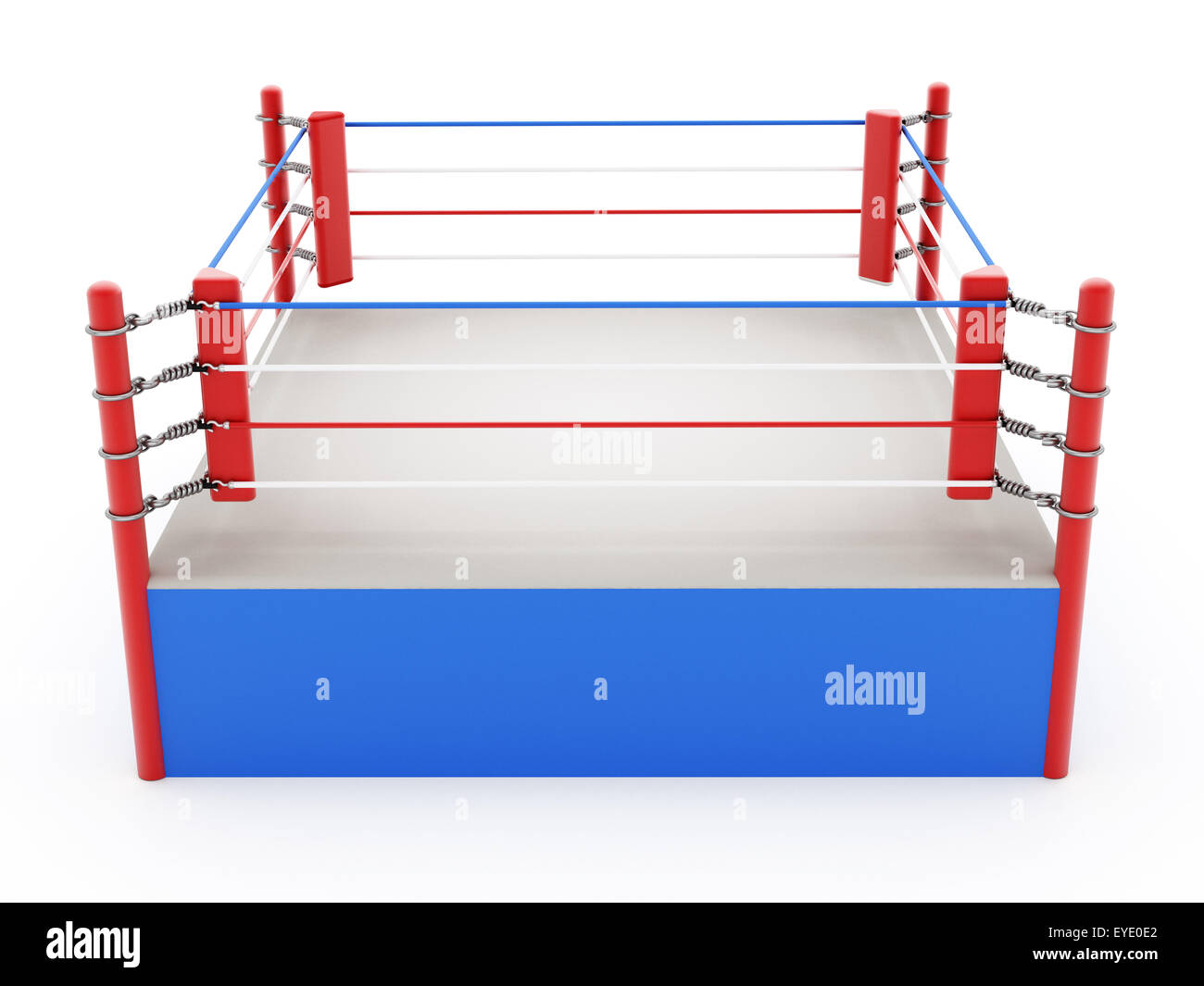 Boxing ring isolated on white background - Stock Image