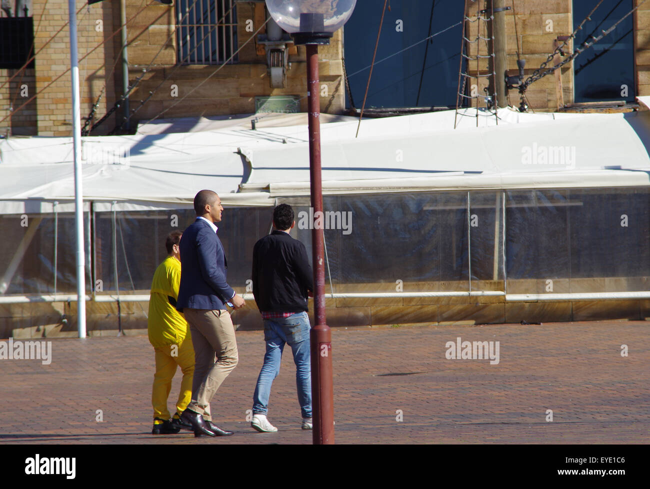 Sydney, Australia. 27th July, 2015. Geoffrey Eldesten, Blake Garvey and James Mathison can be seen walking together - Stock Image